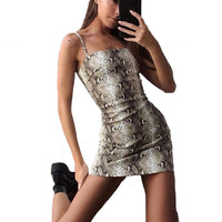 Sexy vintage Animal print Short vestidos Fashion Party Clubwear Backless Zipper