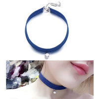 Korean Custom Simple Jeans Blue Cloth Pearl Pendant Neck Chain Short Necklace Collarbone Chain Accessories Neck Band Choker