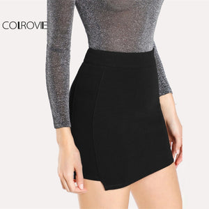 COLROVIE Solid Knit Bodycon Skirt Black Mid Waist Above Knee Plain Bodycon Skirt With Zip Women Elegant Short Skirt