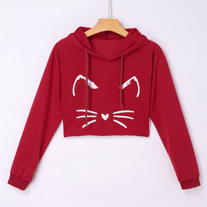 Hoodies Sweatshirts Women Girls Casual Long Sleeve Short Hooded Sweatshirt Cat Kitty Print Pullover Tops Blouse For Female 0912