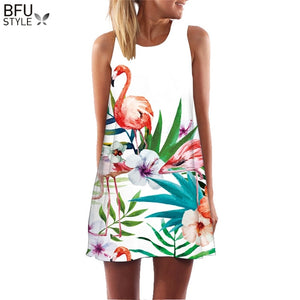 2019 Summer Dress Floral Print Boho Dresses For Women Casual Beach Sundress Sleeveless Flamingo Chiffon Dress Vestidos De Fiesta