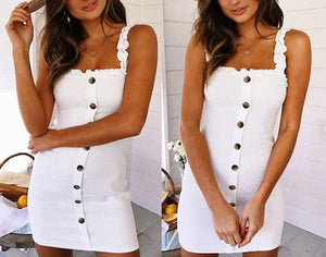 Aproms Sexy Back Tie Bow Summer Dress Women White Sundresses Elegant Buttons Cotton Dress Slim Bodycon Short Mini Dress Vestidos