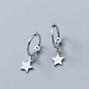 MAGICITY Exquisited 925 Sterling Silver Star Hoop Earrings for Women Simple