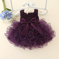 Hot Lace flower girls wedding dress baby girls Baptism cake dresses for party occasion kids 1 year baby girl birthday dress 24M