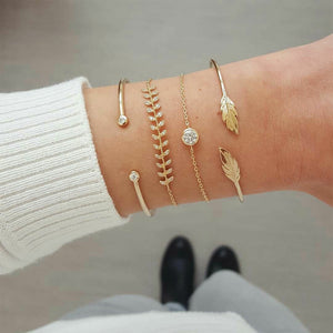 4 Pcs/set Women's Fashion Crystal Leaves Geometric Chain Gold Bracelet