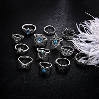 13 pcs/set Finger Ring Set For Women Heart Turtle Elephant Blue Crystal Water Drop Knuckle Ring Accessories