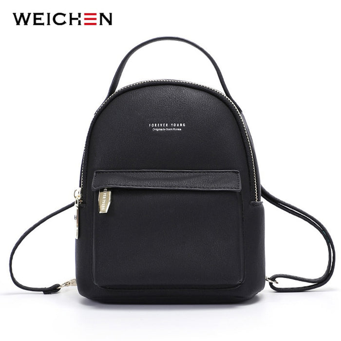 WEICHEN Multi-Function Women Backpack Leather Fashion Small Backpack