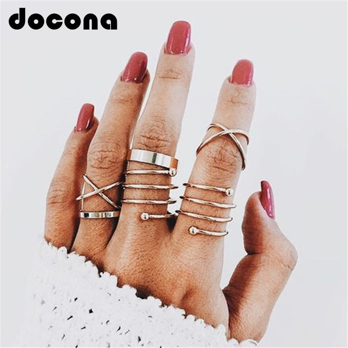 docona  Multi Gold Round Rings Set Midi Finger Ring Set for Women Girl Simple Band Rings