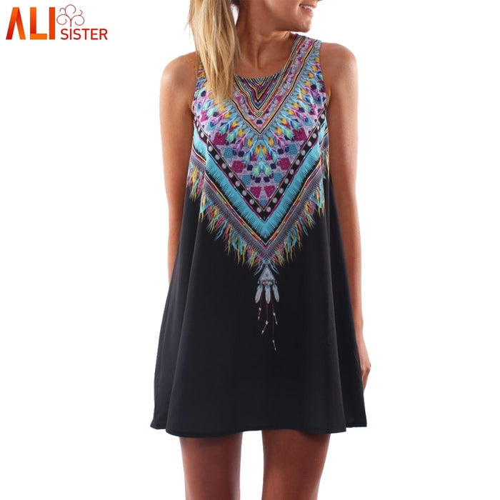 3D Vintage Print Summer Dress 2019 Bohemian Beach Dress Flamingos Sundresses Women Dress Dashiki Hippie Boho Vestidos Large Size