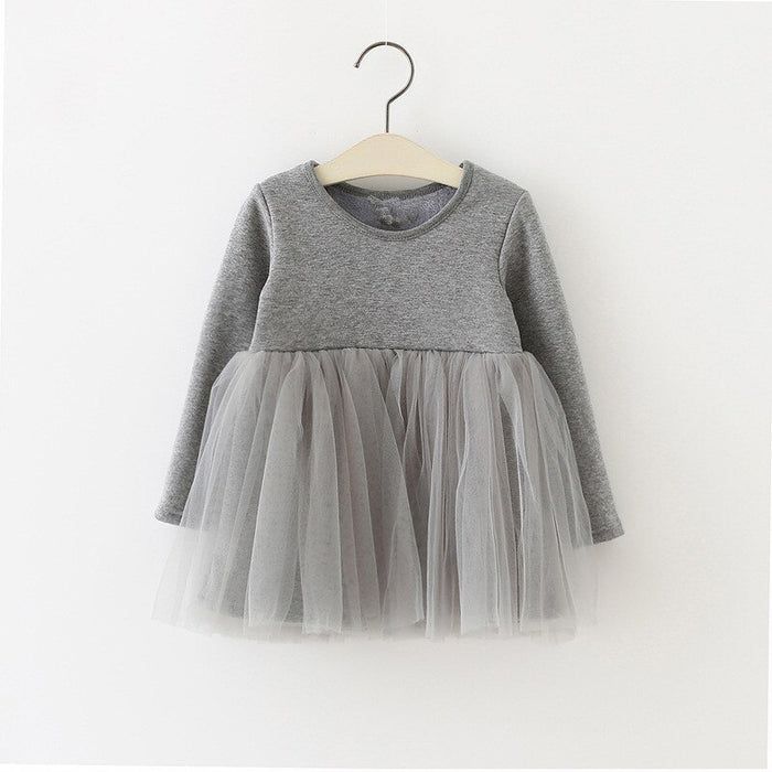 Long Sleeve Winter Baby Dresses Fleece Infant Newborn Baby Girl Dress 0-24M Cotton Solid Casual Christening Dress Clothes