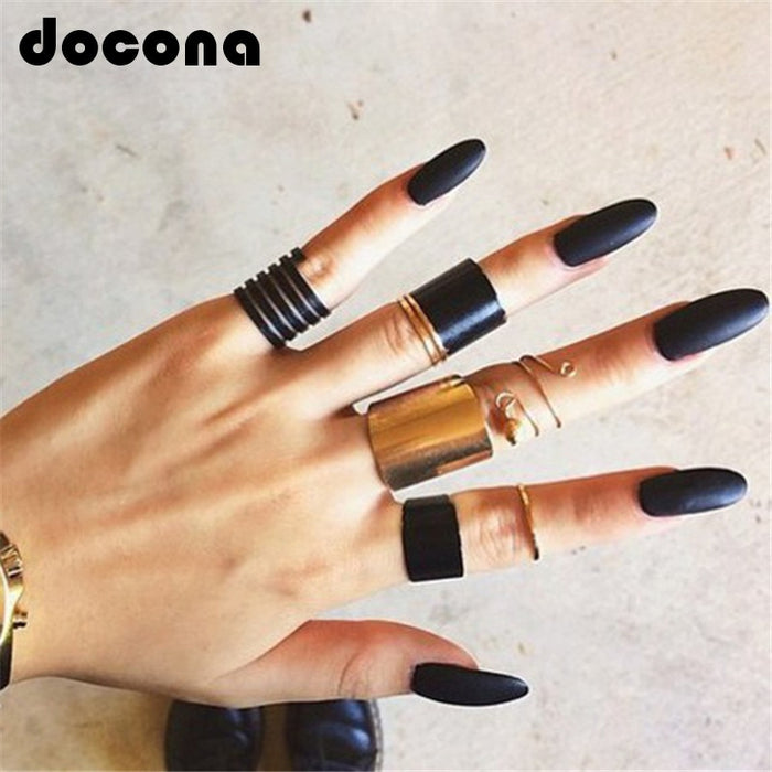 Black Opening Ring 3 pcs/set Midi Finger Knuckle Ring Set for Women