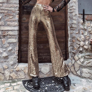 MisDream Glitter Sequin High Waist Pants Women Sexy Night Party Paillette Flare Pants Gold Clubwear Side Zipper Shining Trousers