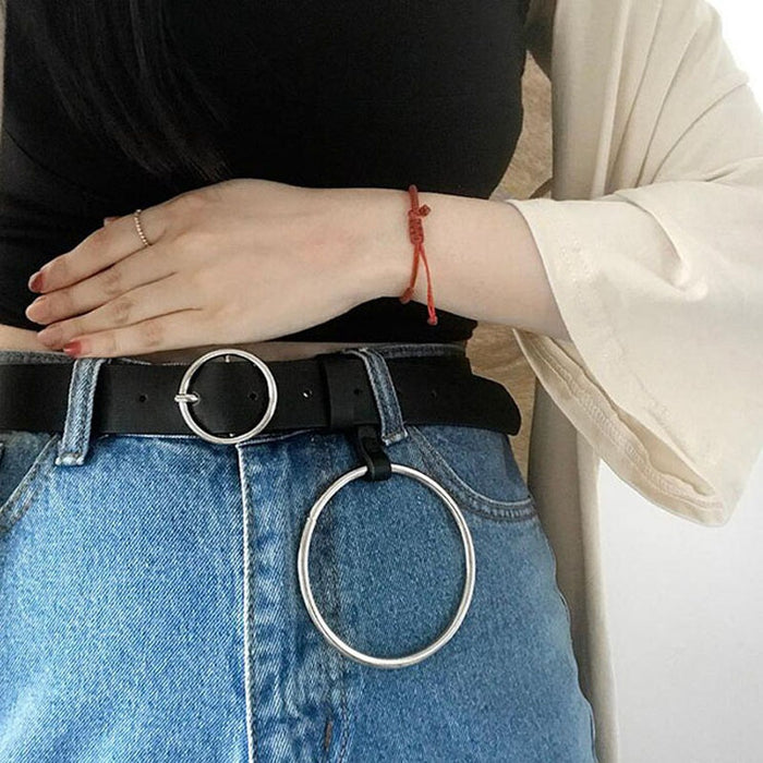 8.4CM Big Circle Buckle Belt Personality Cool Fashion Casual Women Girls PU Leather Pant Waist Belts