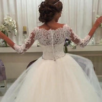 JIERUIZE White Lace Appliques Ball Gown Wedding Dresses 2019 Crystal