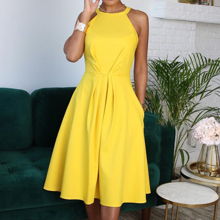OMSJ New Women Elegant Party Sexy Fashion Workwear Dresses Ladies Yellow Halter Sleeveless A Line Ruched Casual OL Office Dress