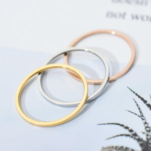 ZMZY Round Rings For Women Thin Stainless Steel Wedding Ring Simplicity