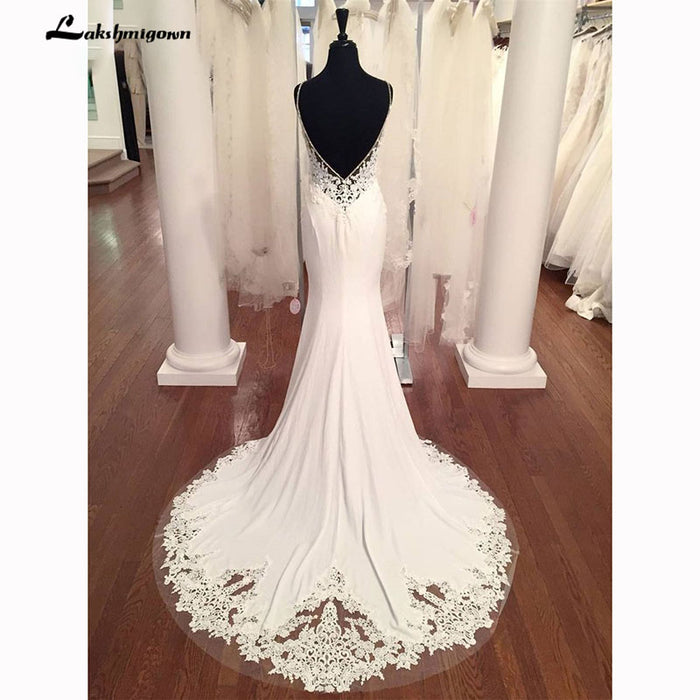 V Neck Mermaid Wedding Dresses Lace Appliques Boho Wedding Dress