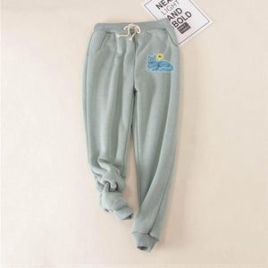 LANSHANQUE Cactus Women Pants Green Gray Loose Thick Fleece Winter Long