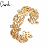 Chandler Inset Crystal Ring Wide Finger Knuckle Toe Rings For Women Men Flora Jewellry Adjustable Gold Color Plated