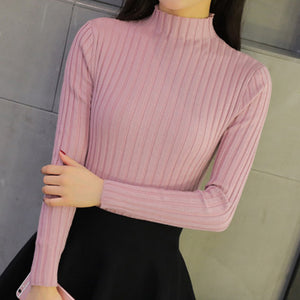 OHRYIYIE Purple/Gray Women Turtleneck Sweater 2019 Autumn Winter Knitted Sweaters and Pullovers Female Stripe Jumper Tricot Tops