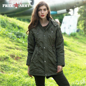 FREE ARMY Parkas Autumn Winter Jacket Coat Women Thick Warm Fur Collar Jacket