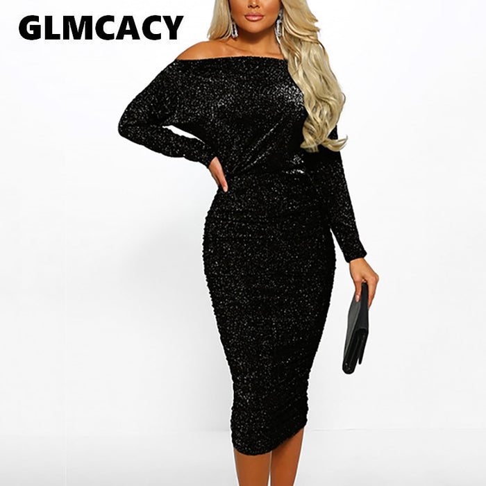 Women Slash Neck Elegant Trendy Tunic Sexy Cocktail Bodycon Glitter Sparkly Off Shoulder Ruched Design Party Midi Dress