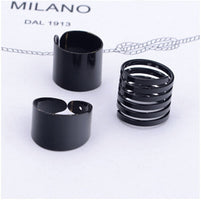 3 Pcs Punk Gold Silver Rings Female Anillos Stack Plain Band Midi Mid Finger