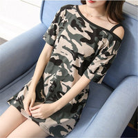 2019 Summer New Women Sling Bottoming Short Sleeve Camouflage Print