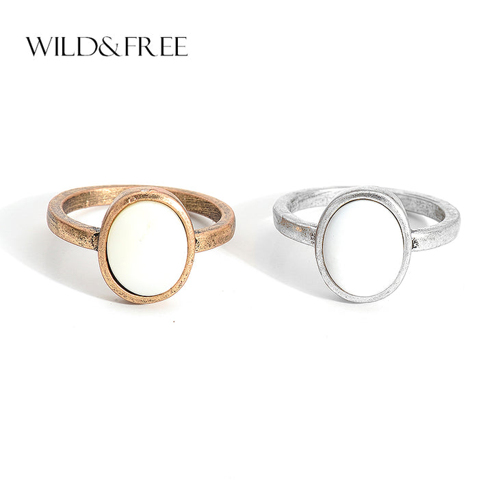 Wild & Free Vintage Antique Gold Silver Single Rings With Natural Shell Round
