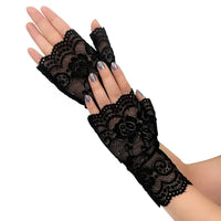 Women Sexy Lingerie White Black Red Nude Lace Gloves Ladies Long Fingerless Fishnet Gloves Mesh Mitten Gants Erotic Accessories