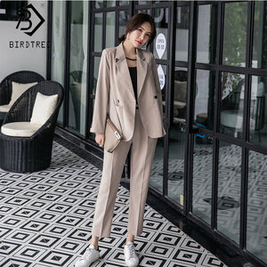 Blazer Suits Double Breasted Tops Elastic Waist Pants Formal Notched Elegance