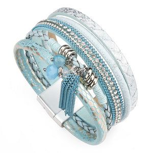Amorcome Blue Leather Bracelet Charm For Women Rhinestone Beads Crystal
