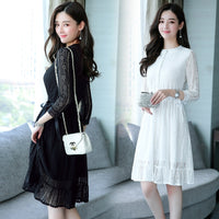2018 Autumn Winter Plus Size Vintage Black Lace Dress Party Long Sleeve White