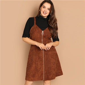 Brown Plus Size O-ring Zip Front Corduroy Pinafore Women Dress Casual