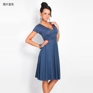 Brand 2019 New Summer Dress Vintage Sexy Casual V-Neck Slim fold Big swing Dress
