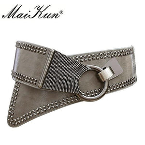 Maikun Fashion Punk Rocker Wide Belts for Women Elastic Wide European Style Women Belts Metal Round Buckle