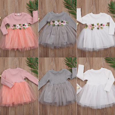Pink 3 Colors Baby Kids Girl Dress Net Yarn Flower Wedding Birthday Princess Pageant Prom Tutu Dresses 0-3Y