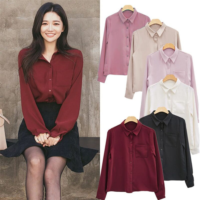 Women Blouses Shirt Long Sleeve Casual Chiffon Turn-down Collar Solid Women Tops Korean Vogue Shirt Loose Single-breasted Shirts