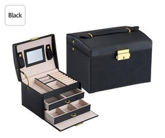 Big Jewelry Box Multifunction Three Layers Large Capacity Leather Storage Jewelry Box with Mirror Watch Jewelry Organizer Box