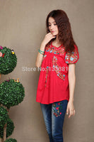 mexican BOHO Ethnic Floral Embroidered Hippie blouses shorts women