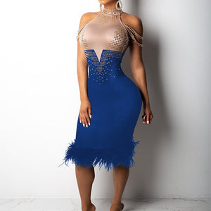Women Elegant Sexy Off Shoulder Cocktail Bandage Holiday Midi Dress