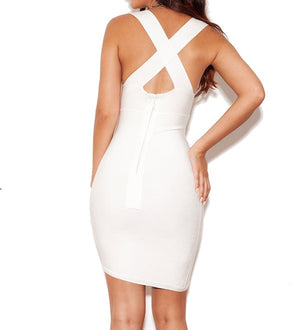White Women Boutiques Sleeveless Bandage Dress Back Cross V Neck Mini
