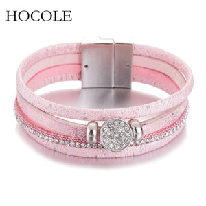 Multi-layer Leather Bracelet For Women Men Boho Rhinestone Magnetic