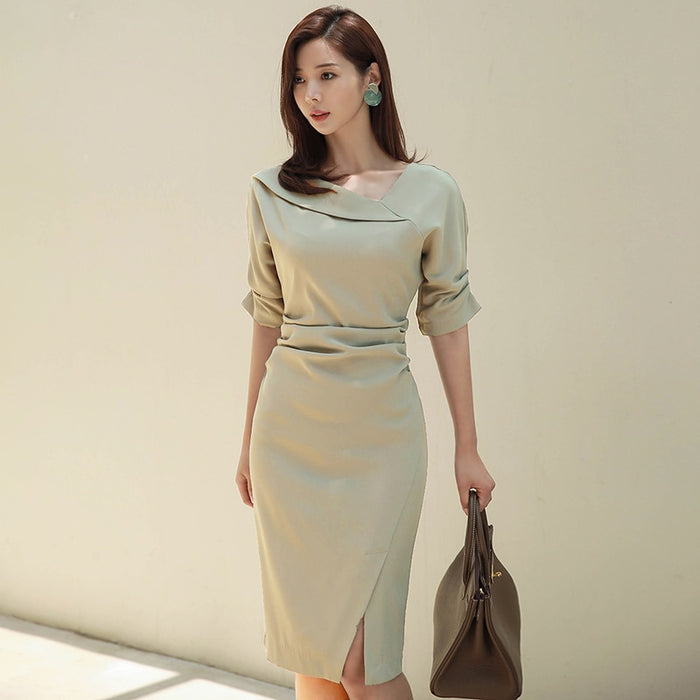Spring Elegant Slash-neck Short Sleeve Women Dress Office Ladies Split