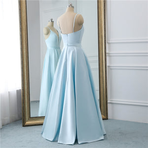 Sexy A Line V Neck Backless Satin Elegant Prom Dresses 2019 Spaghetti Strap Zipper Backless Floor Length Prom Dress HFY102302