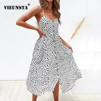 VIEUNSTA Leopard Floral Printed Strap Dress Summer 2019 Women V-neck Button Midi Party Dress Elegant Sleeveless Pockets Sundress