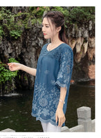 Summer Style Bohemian Embroidery Cotton Women Top Blouses Summer