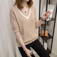 2018 Autumn New Sweaters Women Pullovers Slim Warm Hollow Sweaters Women Loose Knitted Sweater Female V-neck Small Fresh Sweater