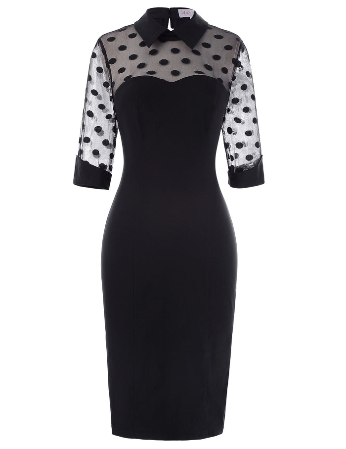 retro turn down neck mesh polka dots little black dress Vintage Half Sleeve