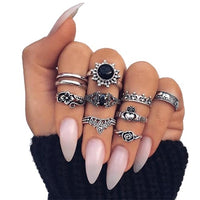 Bohemia Vintage Crystal Geometric Ring Set for Lady Opal Resin Elephant Flower Knuckle Finger Midi Ring